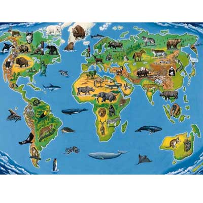 World Map Animals Puzzle - 200pc